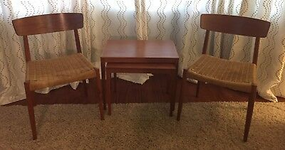 2 Mid Century Danish Modern Dining Chairs Teak Rope Chairs GORGEOUS!!