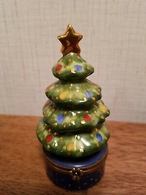 Limoges Christmas Tree Trinket Box Peint Main France Mint Condition