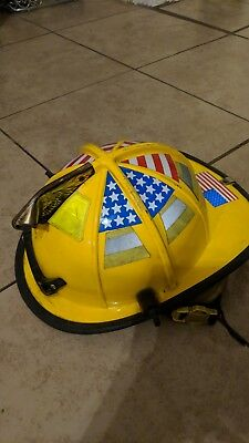 Cairns Traditional Fire Helmet 1010 Adjustable Size Yellow USED