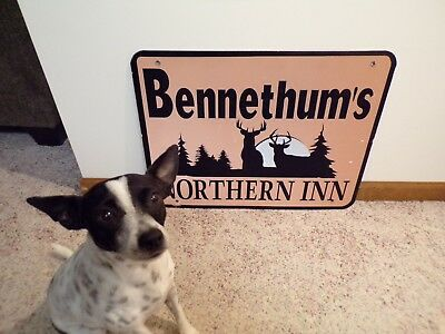 Authentic BENNETHUM'S Interstate Exit Ramp Sign Reflective Aluminum~18x24