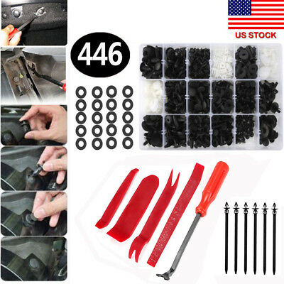 446pcs Auto Car Push Retainer Pin Rivet Trim Clip Panel Moulding Assortments Kit