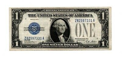 """1928 A $1 Dollar Silver Certificate Blue Seal,""""funny Back"""" Vf Z82597331A Serial"""
