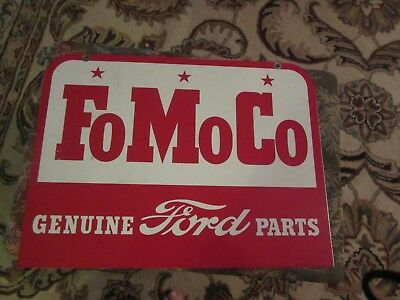 1950-60s Vintage Ford Parts FoMoCo Genuine Parts Double-Sided Metal Sign NOS