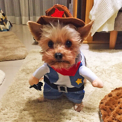Dog Costume Cowboy Clothes For Cosplay Party Pet Puppy Cat Jacket French Bulldog