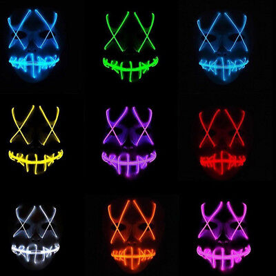 Halloween Scary Mask Cosplay Led Costume Mask EL Wire Light Up Purge Movie DJ SF