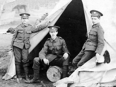 WW1 WWI British Army - 3 soldiers in camp - Territorial Army unit