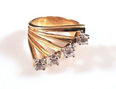18k Gold-Filled Ring with Four White Sapphires - 9458-12
