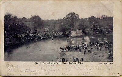 Air Aerial View Baptising in Pearl River Jackson MS Postcard C38