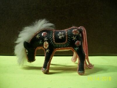 Vintage; '40s-'50s miniature hand made stuffed embroidered horse made in China.