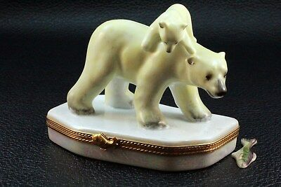 Rare Limited Edition Limoges Paint Main Bear & Cub Trinket Box.