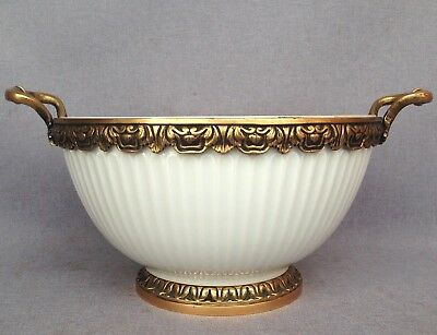 Big antique french cup fruit bowl made of bronze and ceramic mid-1900's