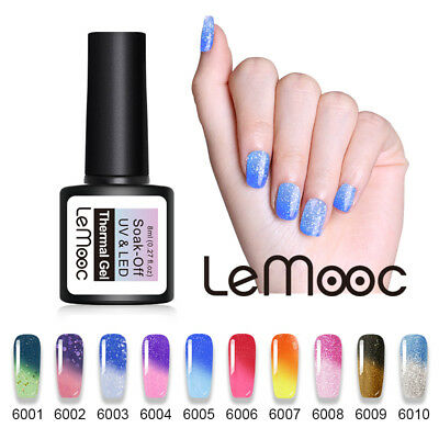 LEMOOC 8ml Thermal Color Changing Gel Polish Nail Art Soak-off UV Gel Varnish