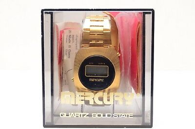Vintage Mercury Quartz Solid State LCD Watch Gold Color NOS Complete In Box