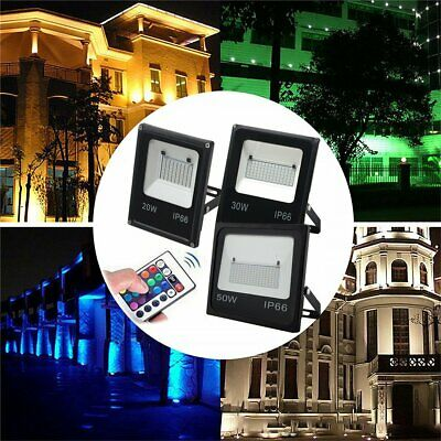 RGB LED Flood light 20/30/50W Outdoor Garden Waterproof remote 16Colour Changing