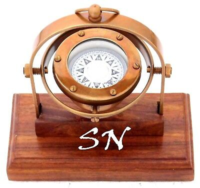 Vintage Brass Antique Gimbal Compass Marine Boat Compass with Wooden Stand