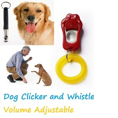 Paws Dog Clicker and Whistle  Puppy Training Teaching Volume Adjustable Pitch
