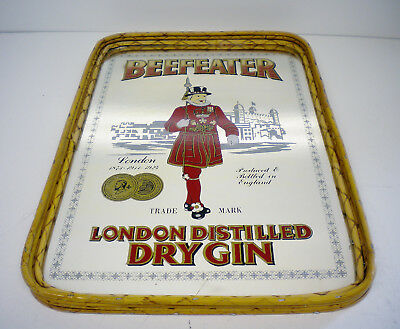 BEEFEATER London Distilled Dry Gin Glass Mirror Drinks Tray Vintage Barware