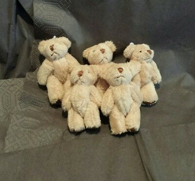 Mini jointed teddy bears/5x light brown/soft/fluffy/brown pads/approx  6.cms