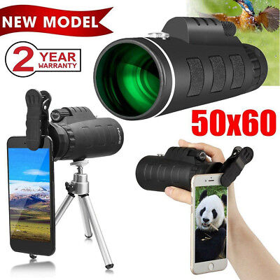 50X60 Zoom Optical HD Lens Monocular Telescope + Tripod + Clip for Mobile Phones