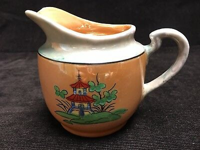"""Vintage Japan Hand Painted Oriental Creamer Pitcher w/ Lustre Finish 3-1/2"""" Tall"""