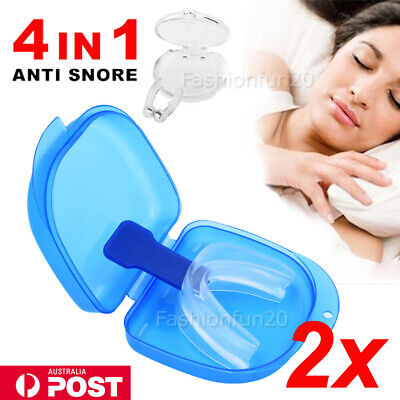 2 SET Anti Snore Stopper Mouth Guard Mouthpiece Nose Clip Snoring Stop Tray