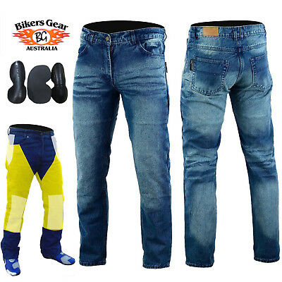 Australian Bikers Gear Men's Kevlar Lined CE Armour Motorcycle Stone Wash Jeans