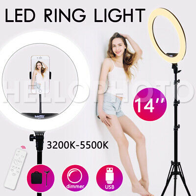 "14""5500K Dimmable Diva SMD LED Ring Light Diffuser Stand Make Up Studio Lighting"