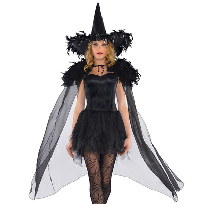 Adult Gothic Feathered Witch Vampire Cape Cloak Fancy Dress Costume Accessory
