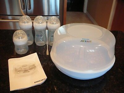 Philips Avent Microwave Steam Baby Bottle Sterilizer 4 Bottles  & Instructions