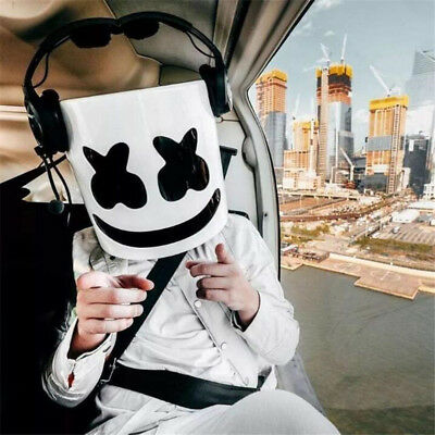 DJ Marshmello Mask Full Face Cosplay Costume Carnaval Halloween Prop Latex Masks