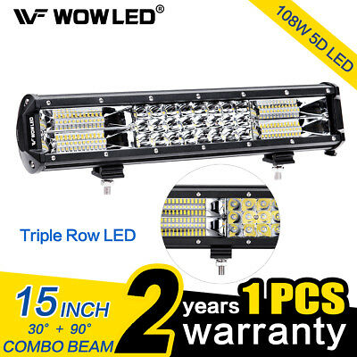 15 Inch 108W 5D LED Work Light Bar Triple Row Offroad Driving Roof Light Car SUV