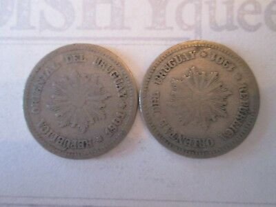 2 COIN SET: 2 CENTESIMOS! Vintage URUGUAY coins: dated 1901 NICKEL finish  IS202