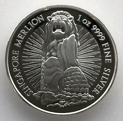 Singapore -  1oz (.9999) Silver Round (Merlion/Orchid)