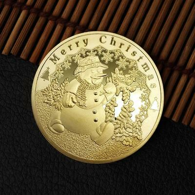 Christmas Snowman Commerative Round Coins Gold/Silver Plated Souvenir Coin TOP