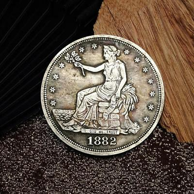 1882 Flower Goddess Commemorative Round Coins Silver Plated Souvenir Coins TOP