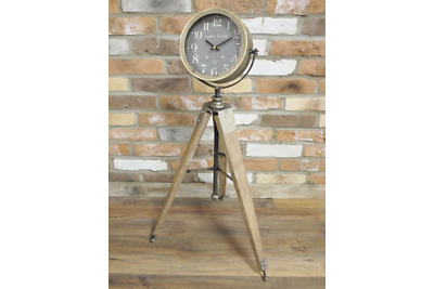 An Elegant Looking Clock on a Wooden Tripod Stand ~ Home Decor ~ Room Decor
