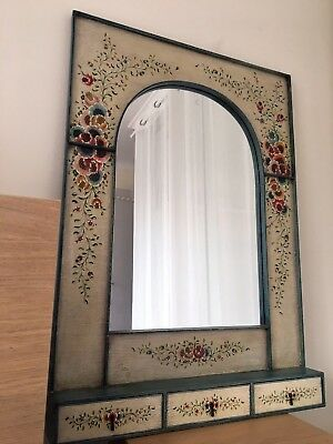 Vintage Hand Painted French Provincial Mirror - One of a Kind Shabby Chic