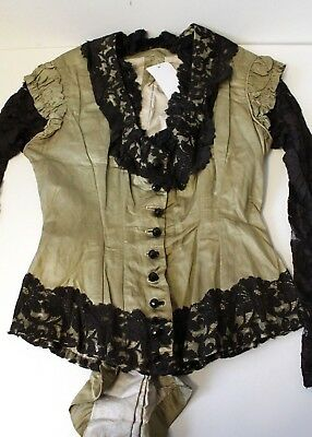 Vintage VICTORIAN Ladies Blouse Green & Black Lace Collectable Antique Fashion