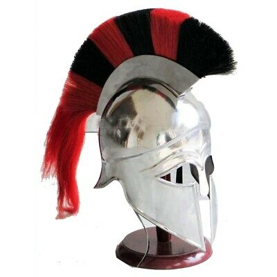 Medieval Greek Corinthian Armour Helmet Black & Red Plume Knight Spartan
