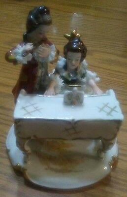 Vintage Dresden Lace Figurine, Couple, Man and Woman piano, flute playing