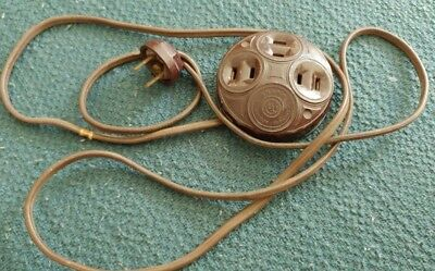 Rare Snapit 3 way Bakelite Outlet Plug With Electrical Extension Cord. No 1565