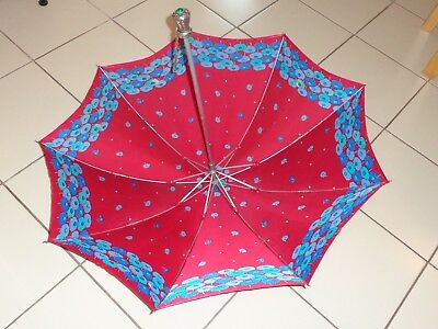 Vintage Umbrella Parasol Nylon E.P.G.Italy Silver Tone Handle W/Faux Green Jewel