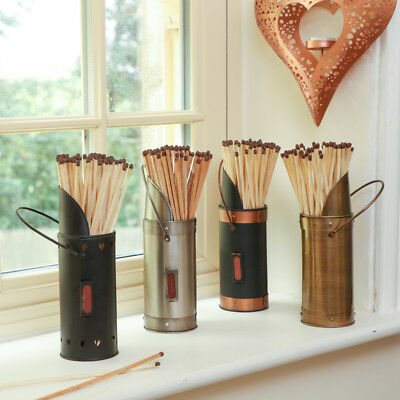 Match Holders with Extra-long Fireside Matches Coal Scuttle Design Fireplaces
