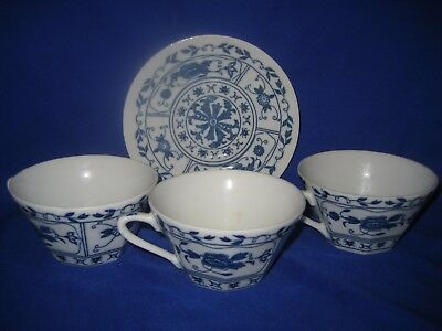 Japanese Octagonal  Blue And White 3 Cups And Saucer