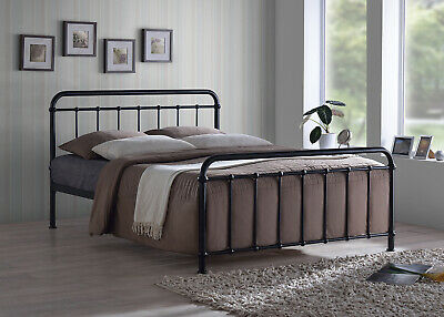Vintage Metal Bed Frame In Black Or Ivory Finish Single Double King Size