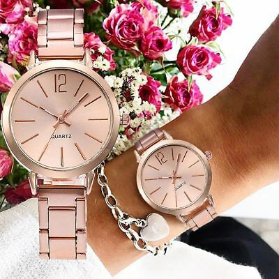 Women Lady Girl Wrist Quartz Watch Round Simple Alloy Case Fashion Birthday Gift