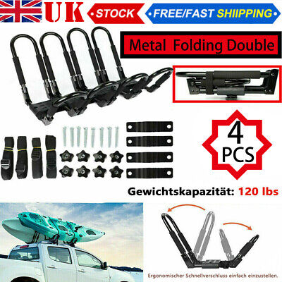 4X Universal Heavy Duty Shape Bars Canoe Kayak Carrier Car Roof Rack With Straps