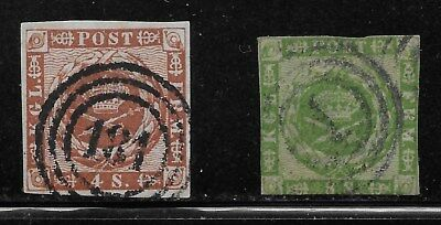Denmark 4-skilling and 8-skilling wavy-line issues (Scott 7 and 8).  SCV $91