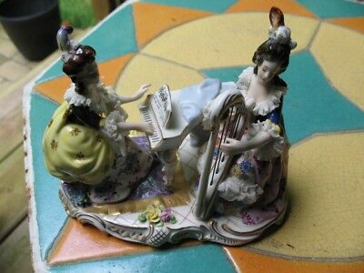 Dresden Lace Figurine Ladys Characters musicians Harp Piano
