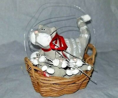 Cat and 3 Kittens in a Basket Decrative Ornament